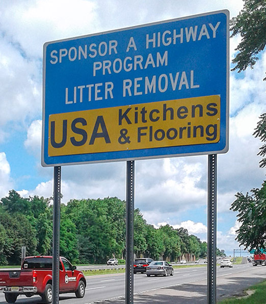 USA Kitchens & Flooring Adopt A Highway Sign