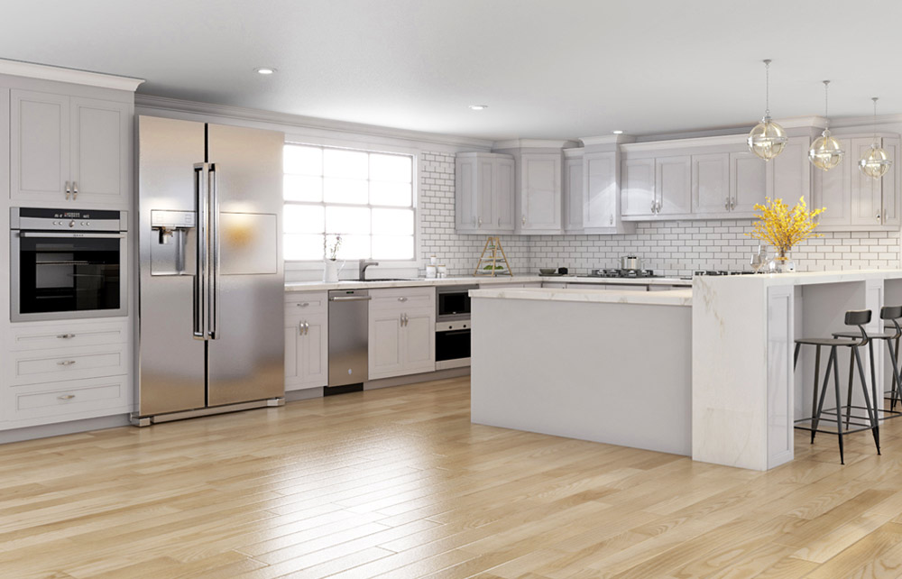 21st Century Cabinetry - White Cabinets with White Subway Tile