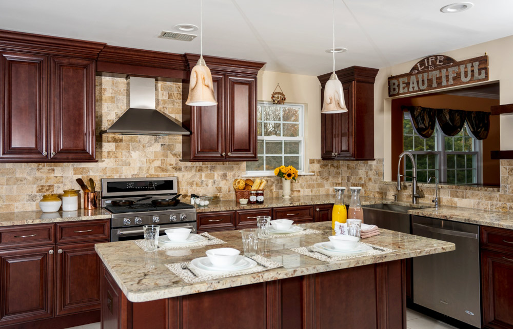 Fabuwood Cabinetry - Brown Cabinets with Travertine Backsplash