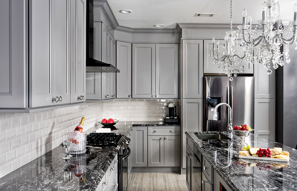 Fabuwood Cabinetry - Gray Cabinets with White Subway Tile Backsplash